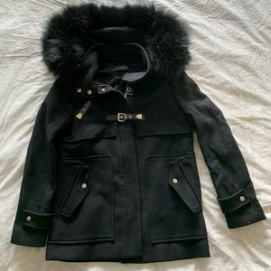 Zara coat, faux-fur lined hood & gold accents